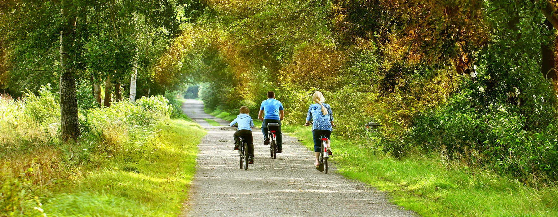 A family biking together down a gravel path through a wooded area.