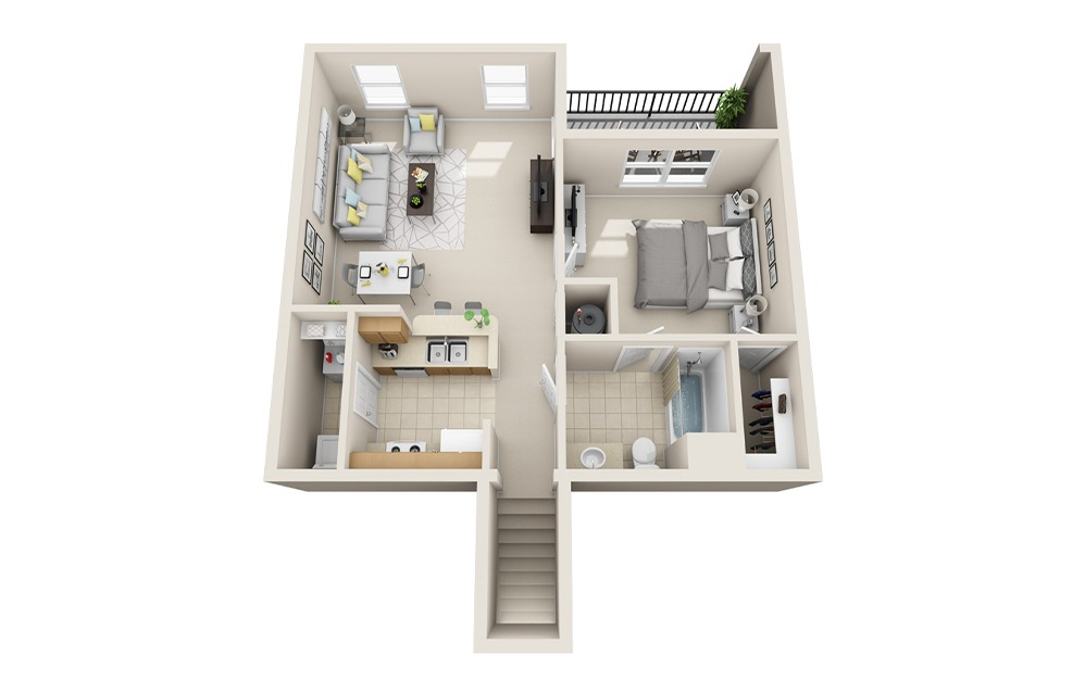 A2-UG - 1 bedroom floorplan layout with 1 bath and 814 square feet.