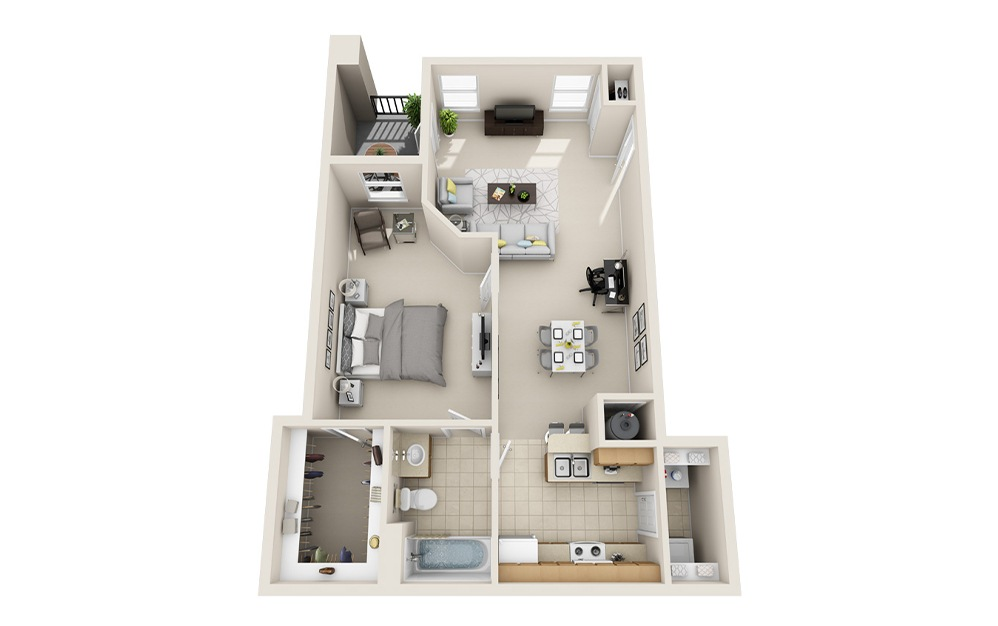 A3 - 1 bedroom floorplan layout with 1 bath and 821 square feet.