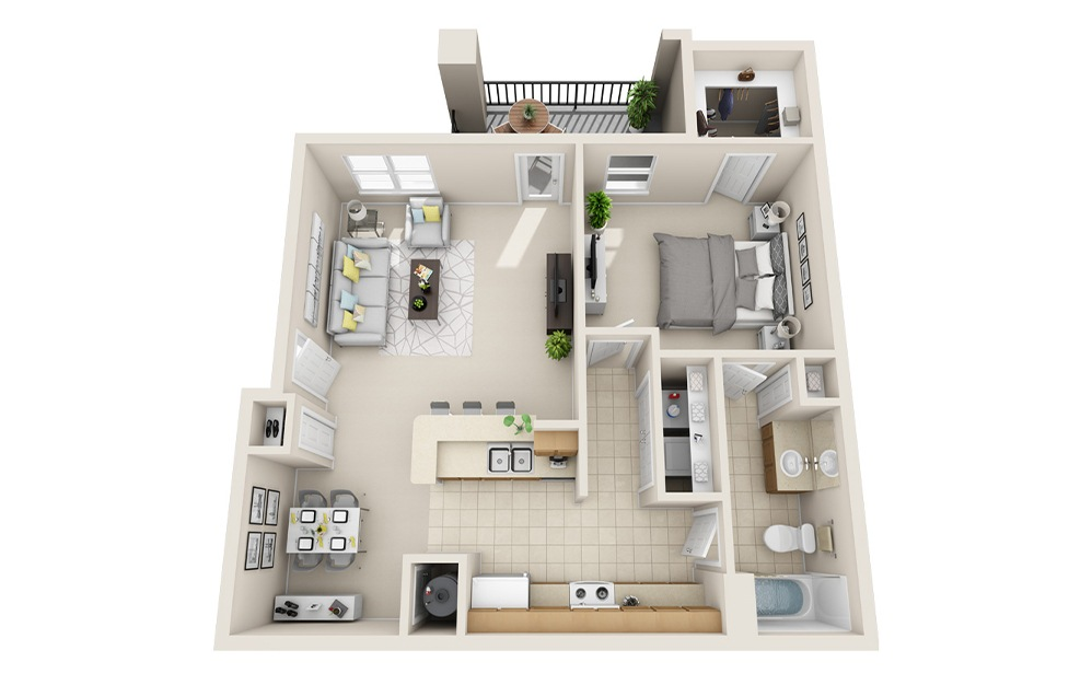 A5-E - 1 bedroom floorplan layout with 1 bath and 997 square feet.