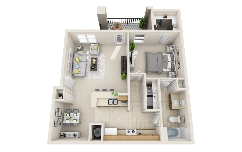 A5-F - 1 bedroom floorplan layout with 1 bath and 997 square feet.