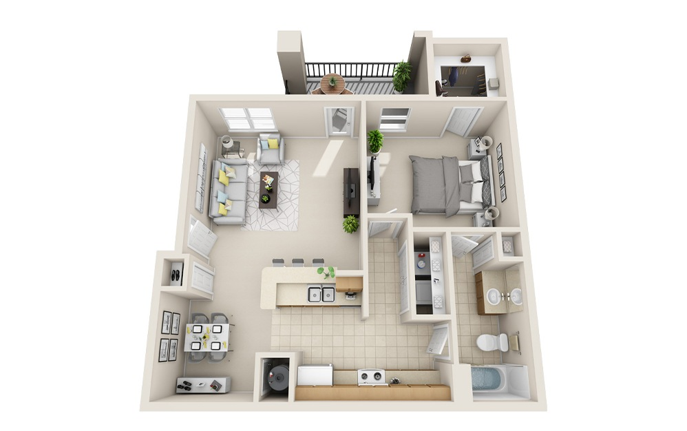 A5-G - 1 bedroom floorplan layout with 1 bath and 997 square feet.