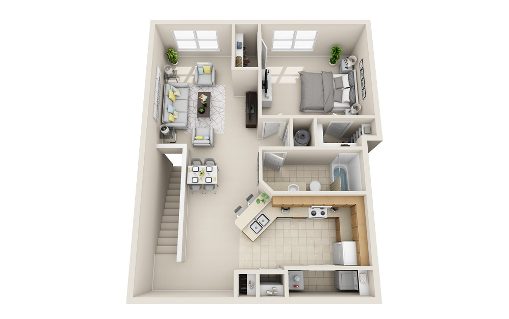 A5H-UG - 1 bedroom floorplan layout with 1 bath and 997 square feet.