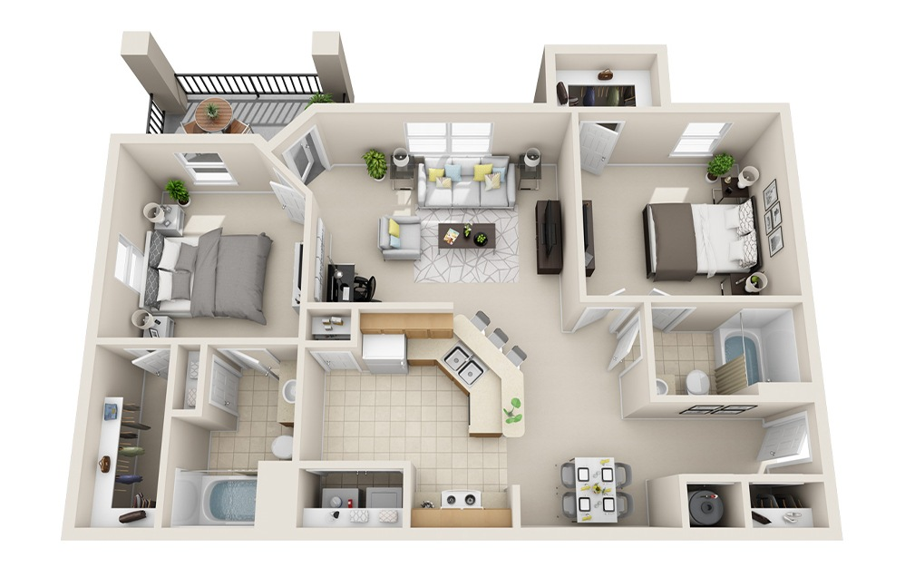B1-A - 2 bedroom floorplan layout with 2 baths and 985 square feet.