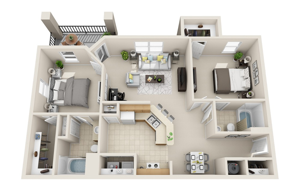 B1-B - 2 bedroom floorplan layout with 2 baths and 985 square feet.