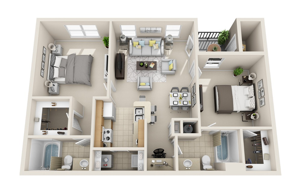 B1-C - 2 bedroom floorplan layout with 2 baths and 985 square feet.