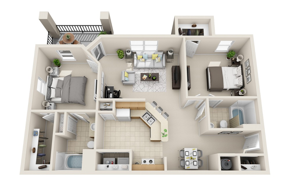 B1-D - 2 bedroom floorplan layout with 2 baths and 985 square feet.