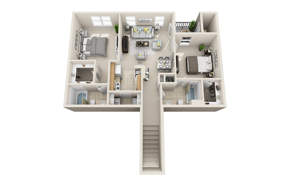B2-E - 2 bedroom floorplan layout with 2 baths and 997 square feet.