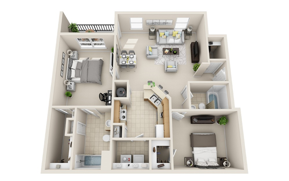 B3 - 2 bedroom floorplan layout with 2 baths and 1097 square feet.