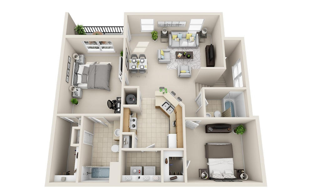 B4-G - 2 bedroom floorplan layout with 2 baths and 1149 square feet.