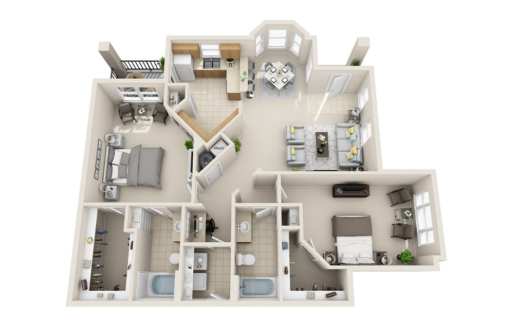 B5-I - 2 bedroom floorplan layout with 2 baths and 1327 square feet.