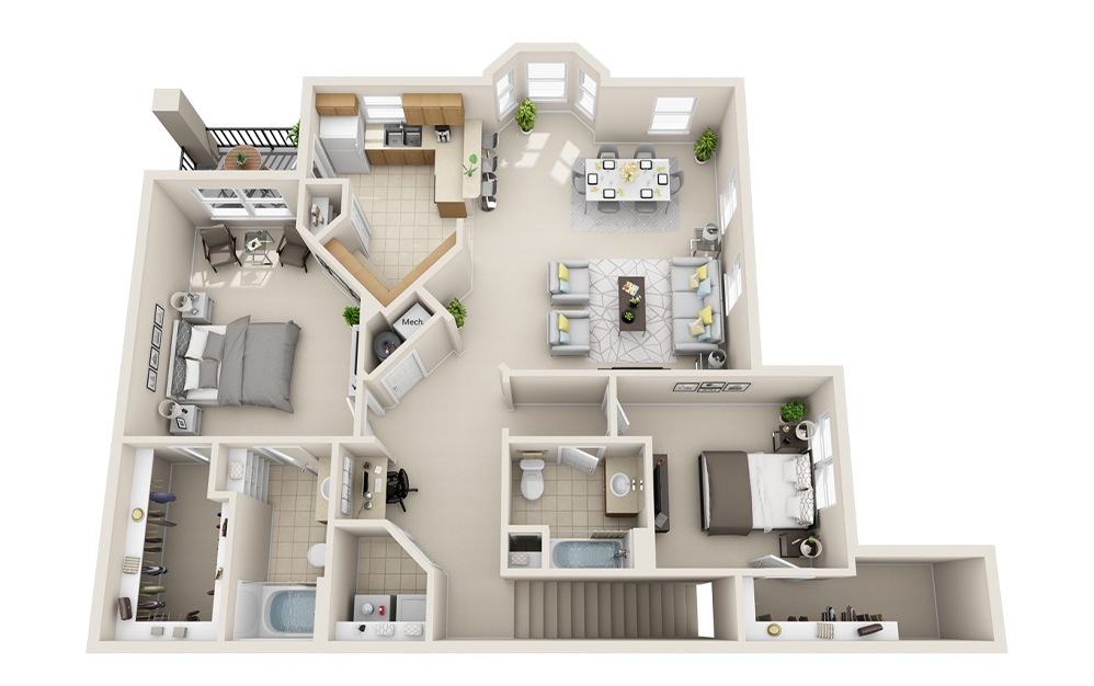 B6-J - 2 bedroom floorplan layout with 2 baths and 1458 square feet.