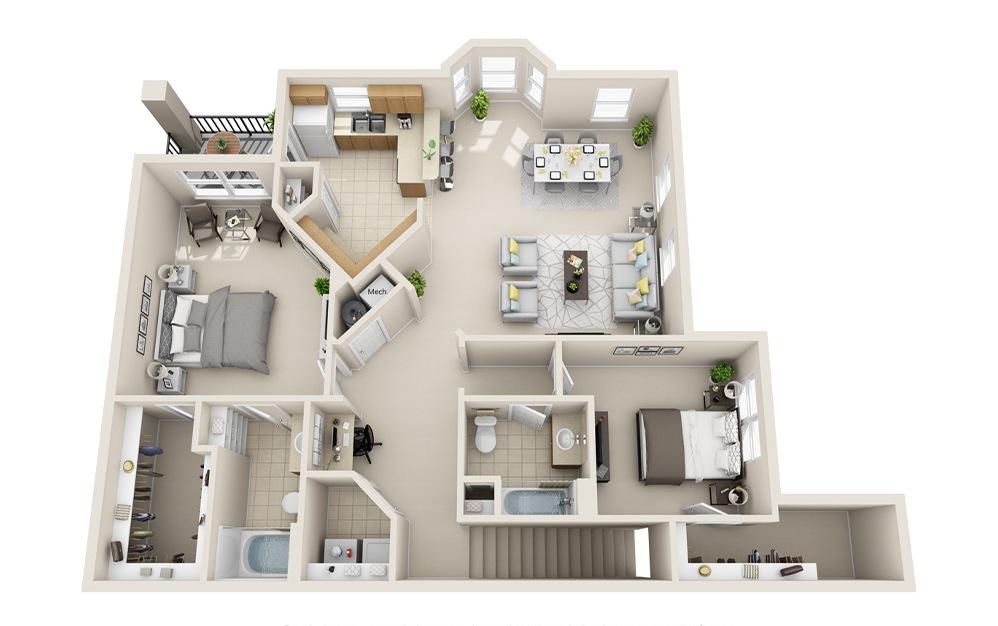 B6K-UG - 2 bedroom floorplan layout with 2 baths and 1458 square feet.