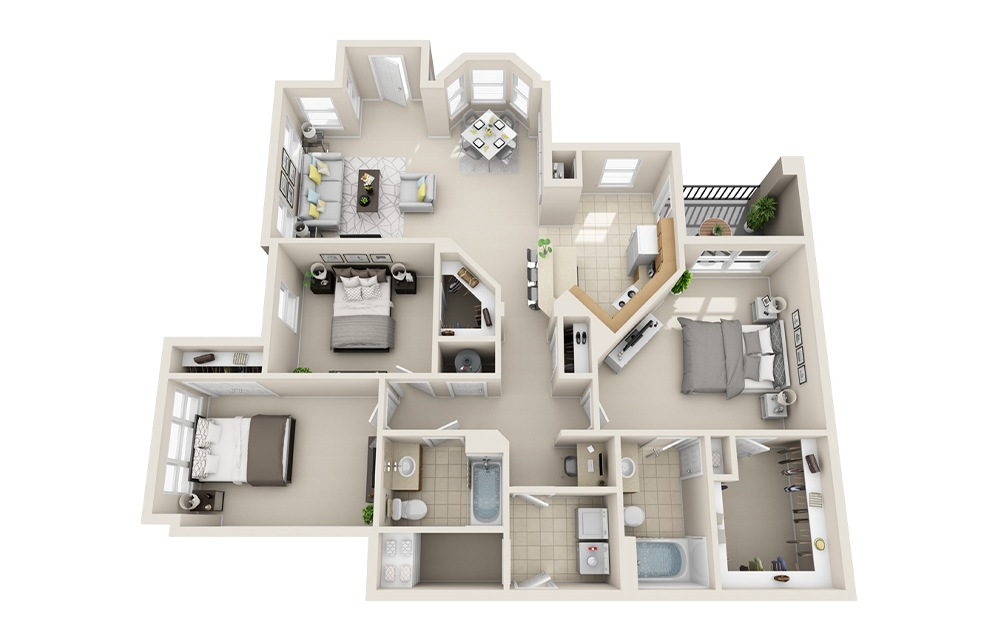 C1-A - 3 bedroom floorplan layout with 2 baths and 1447 square feet.