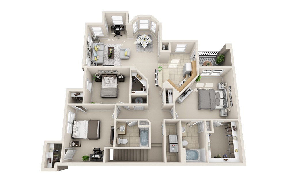 C2B-UG - 3 bedroom floorplan layout with 2 baths and 1523 square feet.