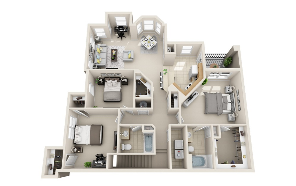 C2-D - 3 bedroom floorplan layout with 2 baths and 1523 square feet.