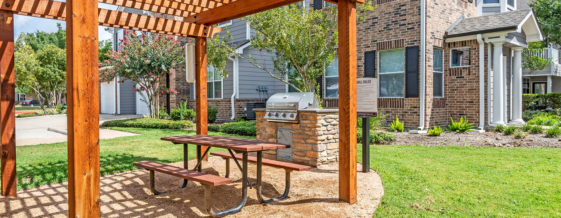 Beautiful and large picnic area with a gas grill